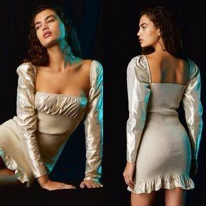NWT Aritzia Wilfred Metallic Ballad Mini Dress.
